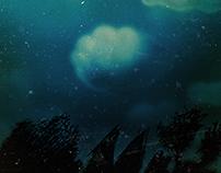 el bosque de noche. Afiche