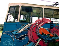 Painting on tram.