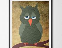 Children's Illustration  Custom Artwork  owl