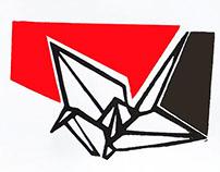 crane origami print