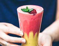 Mango-raspberry almond milkshake with millet