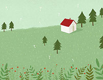 Red house in the forest