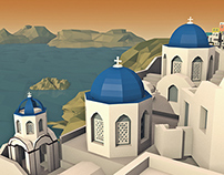 Low Poly Greek Village