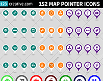152 Map pointer icons in 3 formats and color version