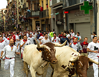 Running with the Bulls in Pamplona, San Fermin, 7/7/14