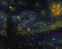 Pixel art (The Starry Night) - Constellation style