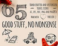 65 Hand Drawn Travel Icons