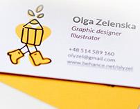 Olga Zelenska graphic designer logo and business cards