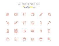 Freebie! 30 exclusive kitchen icons  ( PSD and AI )