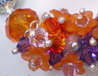 Fire Starter..Purple & Orange Crystal Cluster Bracelet