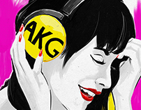AKG Y50 headphones in yellow - lifestyle illustration