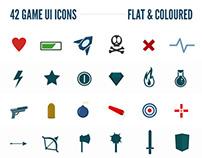 42 Flat Game UI Icons