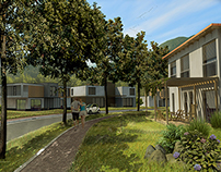 3D Renders: Outdoor exhibition of prefabricated houses
