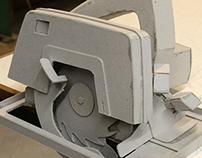 Cardboard mock up of a die grinder