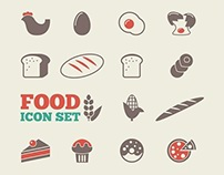 Food Icons and infographic elements.