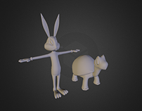 Bugs Bunny and Tortoise 3D models