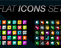 Flat icons with long shadows set