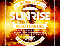 Sunrise Beach Party Flyer, PSD Template