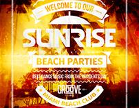 Sunrise Beach Party Flyer, PSD Template