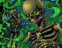Skeleton Airbrush T-Shirt Illustration