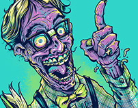 Nerd Zombie T-Shirt Illustration