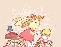 Rabbit riding a bike