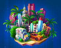Illustrated cities for a casual mobile game