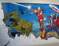Avengers painting mural by Dave Baranes