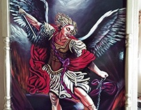 Saint Michael Archangel by Pallominy, oil on wood panel