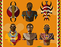 Set of illustrations on the theme of Africa