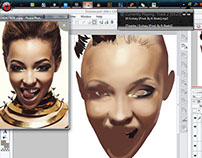 Screen Shot: Tinashe Fan Art Digital Painting Wip