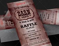 Barn Dance & BBQ Raffle Ticket Template