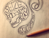 Hand sketch skull graphic