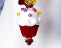 Lampwork Cupcake Earrings in Red,Sapphire and Yellow