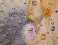 Selene & Helio's kiss - painting evolution