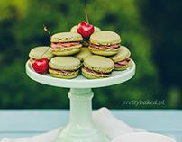 Matcha macarons with sweet cherries