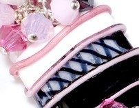 Cosmo Girl Lampwork Bracelet in Black, White & Pink
