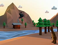Cenário montanhas low poly-CGII