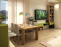 Fresh living room and kitchen