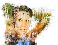 Colour Double Exposure Painting Portrait