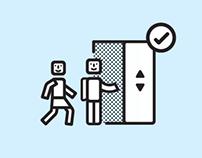 Icons for Elevator Etiquette