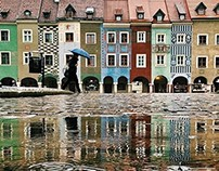 Poznan in puddles