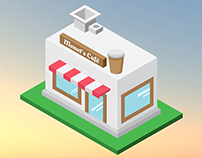 Coffee Shop - Isometric Illustration