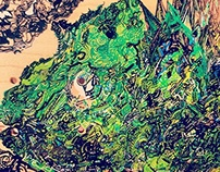 Extremely Detailed Chameleon Painted Skateboard Deck