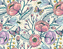 Vintage roses. Vector collection of seamless patterns