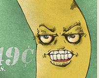 Angry Banana Postage Stamp Design