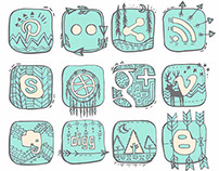 Native American Trendy Social Networking Icons - Series