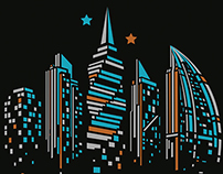 Panama city skyline T-shirt design