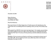 Letter attempting to retain HELOC customers.