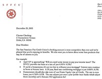 Letter promoting loans to credit union members.